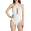 Hot Fashion Sexy Hollow Out Multi Ways Bandage Plain One Piece Swimwear