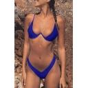 Women's Sexy Spaghetti Straps Hipster Plain Bikinis