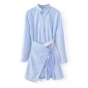 Lapel Collar Long Sleeve Striped Printed Mini Shirt Dress