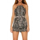 New Arrival Spaghetti Straps Lace Inserted Floral Printed Chic Rompers