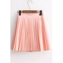 Letter Embroidered Elastic Waist Pleated Mini A-Line Skirt