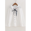 Letter Cat Embroidered Collar Bow Tie Front Long Sleeve Casual Buttons Down Shirt