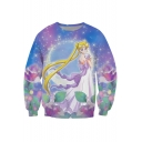 Hot Fashion 3D Galaxy Cartoon Girl Printed Round Neck Long Sleeve Pullover Sweatshirt