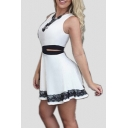 Women's Contrast Cutout Waist Sleeveless Round Neck Mini A-Line Dress