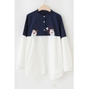 Adorable Cartoon Embroidery Pattern Color Block Single Breasted Shirt