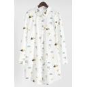 New Arrival Cartoon Cat Birds Printed Lapel Collar Long Sleeve Oversize Shirt
