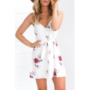 Hot Fashion Spaghetti Straps Floral Printed Tie Waist Mini Slip Dress