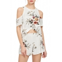 Chic Floral Printed Cold Shoulder Short Sleeve Asymmetric Tee with Wide Leg Shorts Chiffon Co-Ords