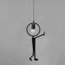 "Metal Man LED Hanging Pendant Light Black ""C'mon"""