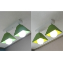 Multi color LED Ceiling Light Creative Trapezoid Shade 2 Lights