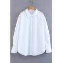 Lapel Collar Long Sleeve Simple Plain Buttons Down Casual Shirt
