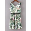 New Arrival V Neck Sleeveless Floral Printed Midi Casual Lace Inserted Dress