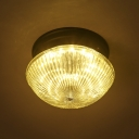 1-Light Industrial Ribbed Glass Shade LED Flush Mount Ceiling Light