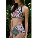 New Stylish Geometric Printed Halter Neck Sleeveless Tankini Swimwear