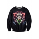 3D Geometric Skull Printed Long Sleeve Round Neck Pullover Sweatshirt