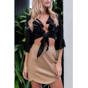 Women's Fashion Ruffle Front Bell 3/4 Length Sleeve Knotted Hem Plain Cropped Blouse