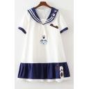Summer's Sweet Color Block Short Sleeve Folded Collar Mini Dress