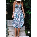 Hot Fashion Floral Printed Halter Neck Sleeveless Midi A-Line Cami Dress