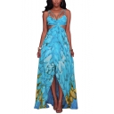 Spaghetti Straps Cut Out Waist Feather Printed Beach Asymmetrical Slip Dress