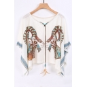New Arrival Round Neck Batwing Sleeve Tribal Printed Loose Pullover Blouse