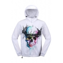 New Arrival Stylish Skull Printed Hooded Long Sleeve Zip Placket Sun Coat