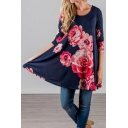 Hot Fashion Retro Floral Printed Round Neck Loose Oversize T-Shirt