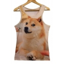 Adorable Chic Akita Dog Printed Sleeveless Round Neck Tank Top