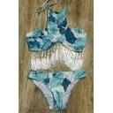 New Arrival Leaves Printed Tassel Halter Top Swimwear Sets