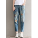 New Collection Chic Floral Embroidered Loose Leisure Jeans