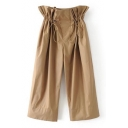 Sashes Drawstring Waist New Fashion Plain Loose Wide Legs Pants