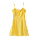 Lace-Up Front Spaghetti Straps Summer's Fresh Yellow Mini A-Line Slip Dress