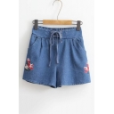 Chic Floral Embroidered Elastic Waist Wide Legs Loose Denim Shorts
