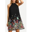 Women's Butterfly Floral Printed Sleeveless Round Neck Mini Swing Dress
