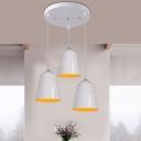 Circular Canopy Multi-light Pendant in Black/White/Multi-color Finish, 3 Lights