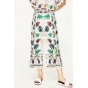 Chic Tribal Print Embroidered Summer's Holiday Loose Wide Legs Pants