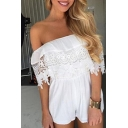 Off The Shoulder Chic Lace Inserted Holiday Beach Plain Loose Rompers