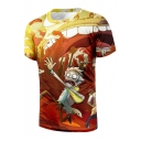 Hot Fashion 3D Cartoon Printed Round Neck Short Sleeve Casual T-Shirt