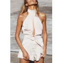 Summer's Sexy Hollow Out Halter Neck Sleeveless Plain Beach Rompers