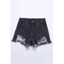 Summer's New Arrival High Waist Plain Fashion Ripped Raw Edge Denim Shorts
