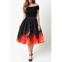 New Stylish Fire Pattern Hem Elastic Waist High Rise Midi Flared Skirt