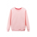 Korean Style Round Neck Long Sleeve Pullover Plain Cotton Sweatshirt