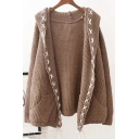 New Arrival Long Sleeve Hooded Open Front Plain Knit Cardigan with Pockets