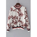 Fashion Rib Jacquard Floral Printed Round Neck Long Sleeve Pullover Sweater