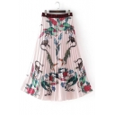 Chic Color Block Animal Printed Zip Back Maxi Pleated Skirt