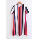 Fashion Color Block Striped Printed Round Neck Short Sleeve Mini T-Shirt Dress