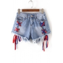 New Collection High Waist Colorful Ribbons Embellished Fringe Hem Denim Shorts