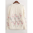 Chic Floral Embroidery Casual Loose Long Sleeve Round Neck Sweater