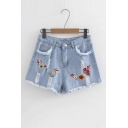 Summer's Floral Embroidered Fashion Ripped Out High Rise Denim Shorts