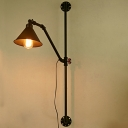 Industrial Metal Wall Sconce in Black with Water Valve Accent Cone Shade
