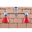 Industrial Pipe Semi Flush Mount Ceiling with Red Conical Shade, 2 Lights